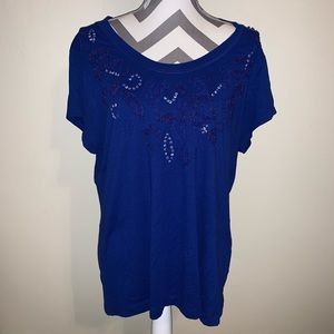 Chico's Royal Beaded Short Sleeve Tee.